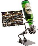 Brubaker Flaschenhalter Lustiger Trinker Metall Skulptur Geschenk für Bier, Wein, Wodka, Korn - mit Grußkarte! -