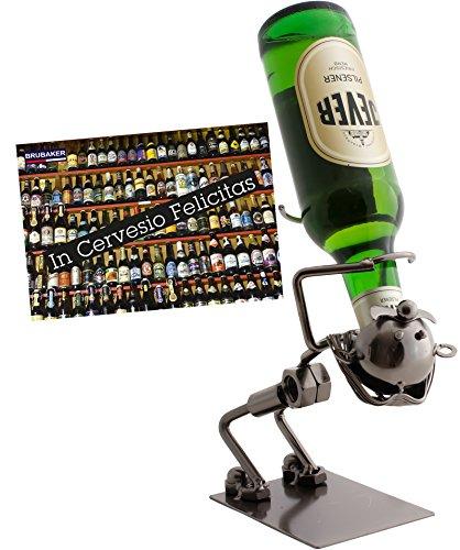 """Brubaker, struttura portabottiglie in metallo, design 'Funny Drinker"""", per vodka o liquore korn, con biglietto d'auguri (lingua italiana non garantita)"""