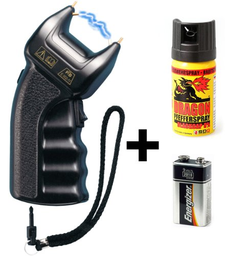 #Security-Discount Germany PTB Elektroschocker 200.000 Volt inkl. Batterie & Pfefferspray#