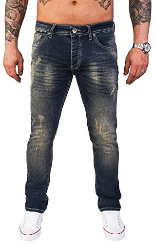 Rock Creek Designer Herren Jeans Hose Stretch Jeanshose Basic Slim Fit [RC-2117 - Blue Vintage - W34 L32]