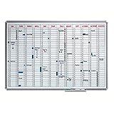 Smit Visual Jahresplaner SILVERLINE - im Ganzjahresformat - BxH 900 x 600 mm - Infotafel Magnettafel Magnetwand Planungstafel Präsentationstafel Schreibtafel Tafel Wandtafel Whiteboard