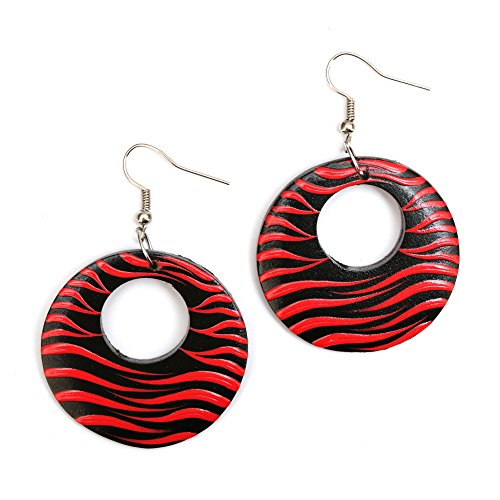 Idin Jewellery - Eye-catching Rosso e Nero Zebra Inspired Disco Orecchini pendenti in (Zebra Eye)