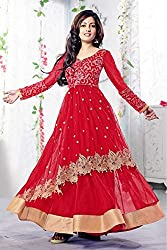 Bollywood Riya Sen Net Party Wear Anarkali Suit in Red Colour