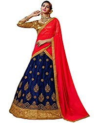 DesiButiks Wedding Wear Elegant Navy Blue Net Designer Lehenga