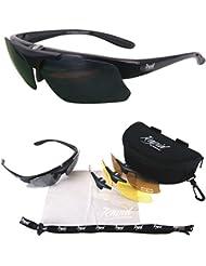Pro Performance Plus Rx Noir LUNETTES DE SOLEIL SPORT POLARISÉES verres interchangeables (x4: claire, polarisante etc.) Pour hommes et femmes. Une protection UV 400