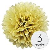 Simplydeko Pompoms Pastell-Gelb - Pom Pom Deko zur Hochzeit oder Party - 3er Set handgefertigte Seidenpapier Pompons (Pastell-Gelb, 30 cm)
