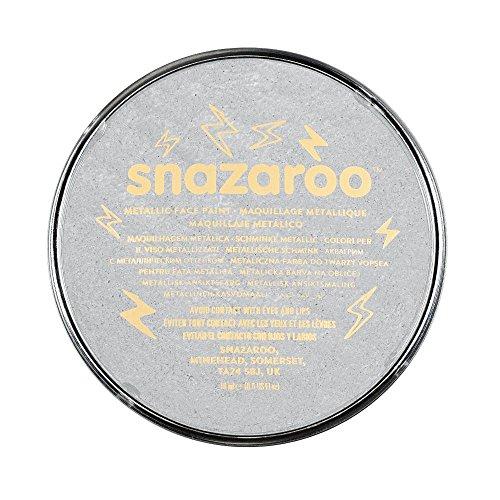 Snazaroo 1119766 Kinderschminke, hautfreundliche hypoallergene Gesichtschminke auf Wasserbasis, wasservermalbar, parabenfrei, bliste - metallic - silber, 18 ml Topf