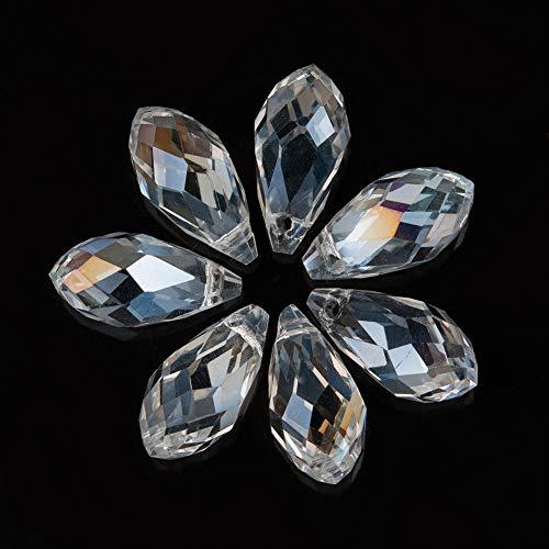 HOULIFE Zubehör 100Stk 17mm Bicolor Tropfen- Form Glas Perlen Spacer Beads zum Basteln Handarbeit DIY Schmuck Herstellung