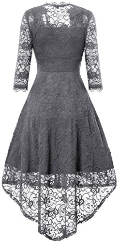 Gigileer Elegant Damen Spitze Abendkleider Cocktailkleid Ballkleider festlich V-Ausschnitt Frack Grau
