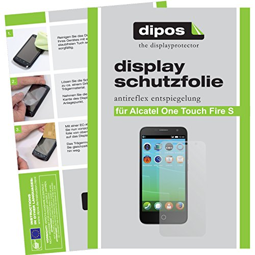 dipos Alcatel One Touch Fire S Schutzfolie (2 Stück) - Antireflex Premium Folie matt