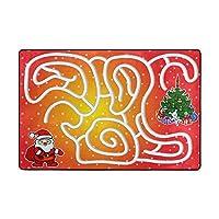 Orediy Soft Rugs Santa Claus Maze Game Lightweight Area Rugs Kids Playing Floor Mat Non Slip Yoga Rug for Living Room Bedroom