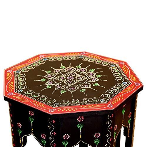Casa Moro Orientalische marokkanische handbemalte handgertigte Beistelltisch Handmade Vintage Tisch Saada Schwarz L