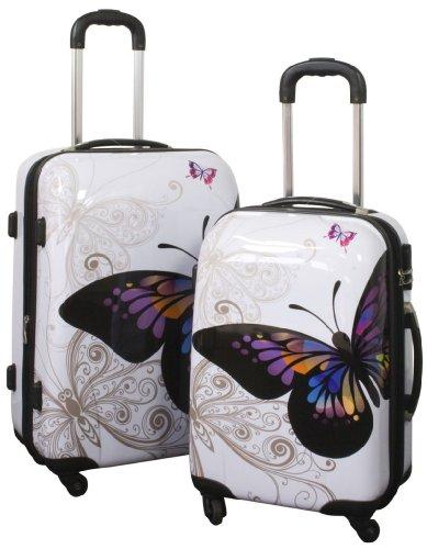 Kofferset Butterfly 2tlg. - Polycarbonat-ABS - Hartschalenkoffer mit Schmetterlingaufdruck - mit Zahlenschloss