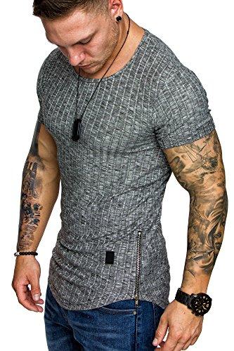 Amaci&Sons Oversize Slim-fit Muscleshirt Vintage Herren Shirt Zipper Sweatshirt Crew-Neck 6040 Schwarz M