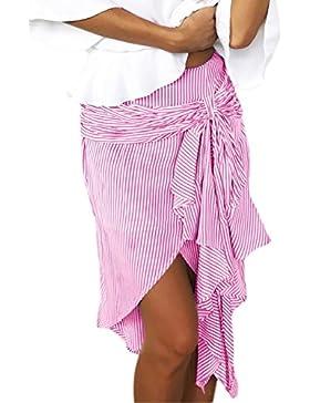 Mujeres Bowknot Casual Mini Falda Corbata De Rayas Irregulares
