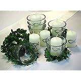 6x Set: Kerze Votivglas Kerzenring Silber Fisch Kommunion Konfirmation Tischdeko