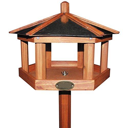 Vogelhaus mit Ständer 128 cm wetterfestes Futterhaus aus Holz – Dach aus verzinktem Metall - 2