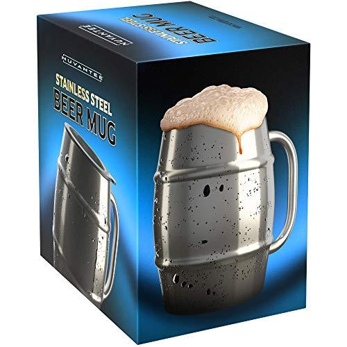 Nuvantee Bierkrug – Wertvolle Tasse höchster Qualität in Edelstahl / Kaffeetasse mit Extra-Deckel – 500ml Doppelwand luftisoliert - Ohne Leck – Gefrierbar – Für Bier, warme Getränke and mehr geeignet