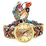 BaZhaHei Damen Uhren Van Native Handmade Damen Vintage Quarzuhr Dreamcatcher Friendship Uhren Weberei Traumfänger Armband Uhr (Bunt H)
