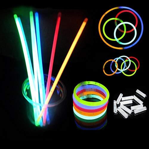begorey Neon Knicklichter Set Armbänder Multi Colored Light Stick Cyalume Groß mit Connectors Leuchtend Leuchtstäbe Stab Partydekoration Hochzeit Angeln Geburtstag Party (100 pcs)
