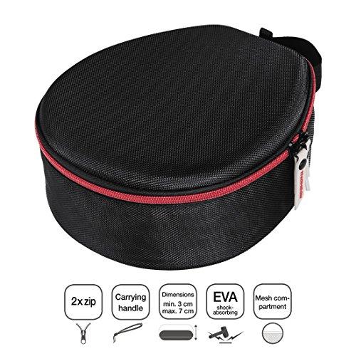 Thomson On-Ear/Over-Ear Kopfhörer Tasche (Hardcase zur Aufbewahrung, anpassbar an verschiedene Kopfbügel-Breiten, Travel Case mit Reißverschluss und Zubehör-Netzfach, Headphone Box) schwarz - 3