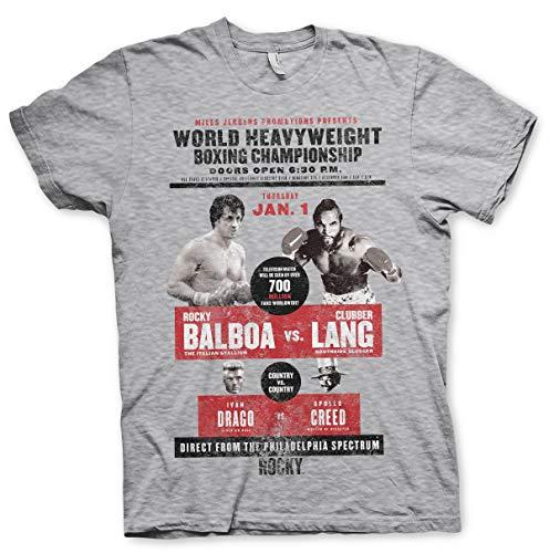 Rocky Offizielles Lizenzprodukt World Heavyweight Poster Herren T-Shirt (H.Grau), Large - American Heavyweight T-shirt