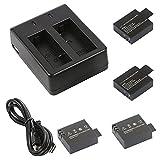 TOOGOO(R) 4x 3.7V 900mAh Bateria + Cargador dual USB para SJ4000 Deporte camara OS480,negro
