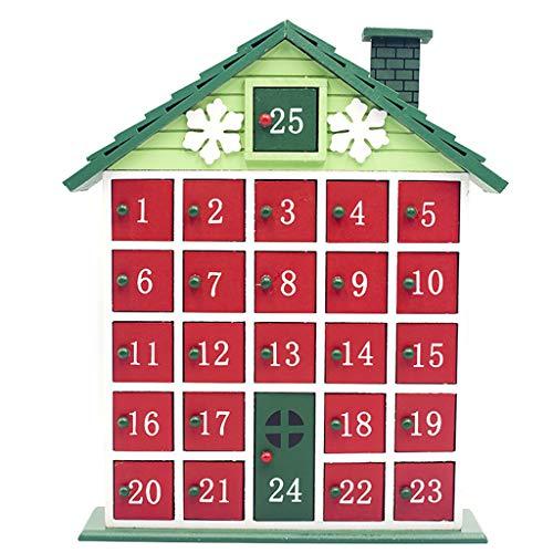JIACUO Adventskalender aus Holz, mit Countdown-Motiv, Weihnachts-Aufbewahrungsbox