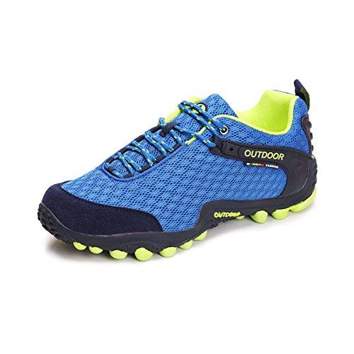 Unisex - Erwachsene Moderne Wanderschuhe Rundzehen Atmungsaktiv Mesh Anti-Rutsche Gummi Sohle Leicht Outdoorschuhe Blau