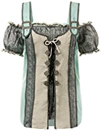 Ulla Popken Damen große Größen | Trachtenbluse mit Muster | Carmenausschnitt | Halbarm-Abschluss | Schnürung | bis Größe 62+ | 712351