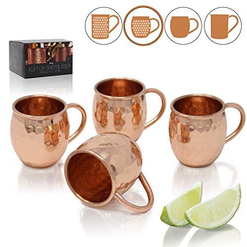 Amazy Moscow Mule Shotgläser (60 ml) ? 4er Set handgemachte Kupferbecher für eisgekühlte Shots und Schnaps (4x Bauchig   Gehämmert)