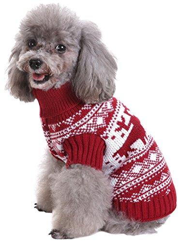 Fair-isle-rollkragen-pullover (smalllee Lucky Store Knit Hund Pullover Rollkragen Christmas Santa Dog Sweater Winter Warm Knitwear Pullover)