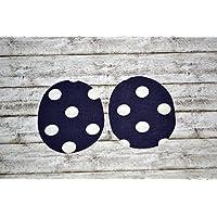 Aufnäher aus Bio-Baumwolle, Flicken, ca. 7,5x 10 cm, Applikation Knie Patch aufbügeln, Baby, Kind, Mädchen, Jungen, tintenblau dunkelblau, weiß Punkte, abwaschbar, beschichtet, wasserabweisend