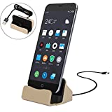 Micro USB di Ricarica Docking Station, MaxKu Desktop Caricabatteria da Tavolo Dock Stand Support Sync Charger Docking Station Caricatore Charger Dock Holder per Samsung Galaxy J3/Samsung Galaxy J5/Samsung Galaxy S7 (Oro)