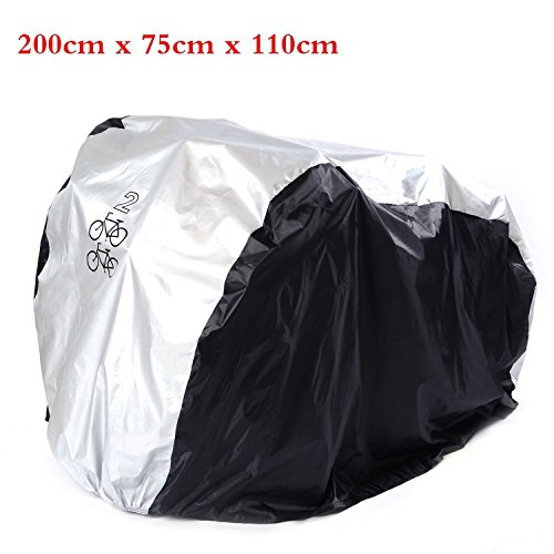 Waterproof Double 2 Bike Bicycle Scooter Rain Dust Cover Garage Protection (Silver+Black) by JY-LED