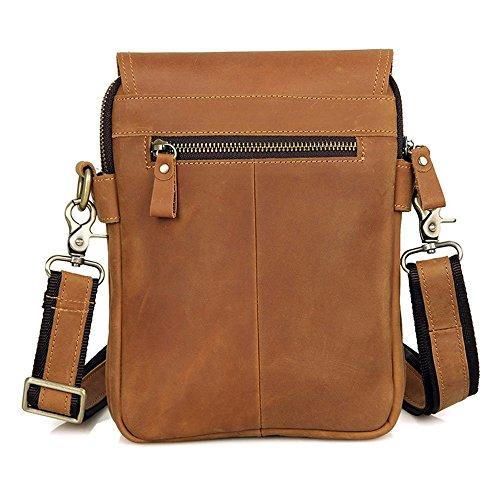 MeiliYH Herren Umhängetasche Retro Einfache Schulter Multifunktions Messenger Bag für Männer braun