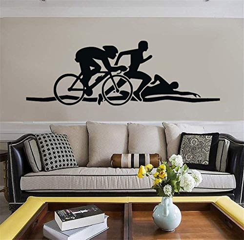Triathlon Leichtathletik Tapete Schwimmen Laufen Radfahren Transfer Vinyl Wandaufkleber Dekorative Kunst Sport Aufkleber Für Kinder 45 * 135 Cm
