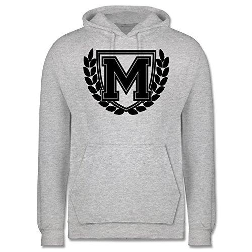 Anfangsbuchstaben - M Collegestyle - Männer Premium Kapuzenpullover / Hoodie Grau Meliert