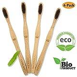 COMLIFE Cepillos de Dientes de Bambú 4PCS, Vegano Ecológico Biodegradable, 100% Libre de BPA, Cerdas Suaves Negras de Carbon de Bambú con Embalaje Reciclable - Familia Set de 4