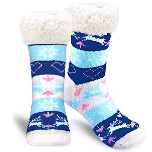 Emooqi Calcetines de estar por casa, Forro Polar Calcetines Inicio Calcetines Casuales Antideslizantes Calcetines Térmicos Cómodos y Transpirables para el Invierno Uso Diario (Blue)