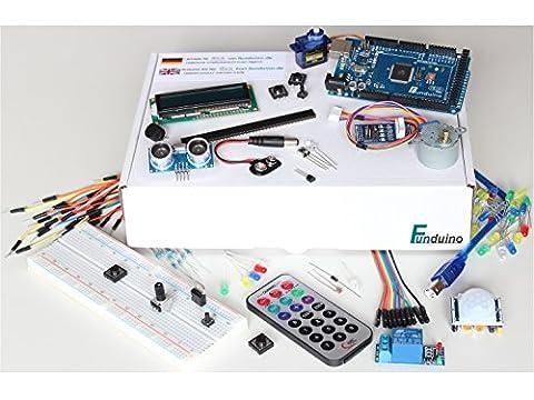 "Arduino Lernset ""MEGA 4"" mit MEGA2560 R3, Grundausstattung + Relais +IR-FB + Schrittmotor + Deutsche Anleitung - Funduino Kit ""M3M"""