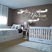 Pared dodoskinz personalizado nombre vinilo adhesivo adhesivo avión helicóptero para Niños Guardería dormitorio decoración para el hogar Diseño Interior murales de arte (mn726), vinilo, 48cmTall x 98cmWide