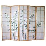 PEGANE Paravento giapponese legno naturale disegno bambù di 5 pannelli