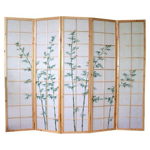 PEGANE Biombo japonés de madera natural con dibujo bambú de 5 panele