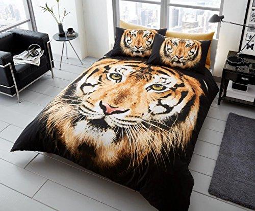 quest-mart ® Luxus 3D Tier Bedruckte Bettdecke/Quilt Cover Set mit Kissenbezügen-Modernes Sortiment (Double, braun Face Tiger) -