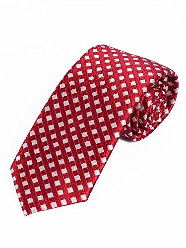 LORENZO GUERNI PREMIUM - italienisches Design - 100% Seide Karierte Seidenkrawatten in rot und weiß (Designer Italienische Seidenkrawatte)