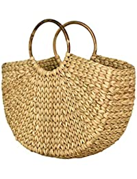 L'bohe Straw-Dry Grass Natural Cane Cotton Canvas Shopping Market Semi Circle Boho Basket Straw-Beach Tote Bag