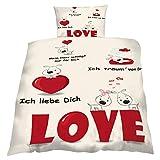 Bettwäsche Microfaser'Liebe 2' 135x200cm, mit Schriftzügen, Oeko Tex 100