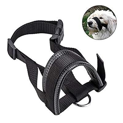 Black Nylon Dog Muzzle Adjustable Loop, Prevent from Biting, Chewing and Barking by LQ Dog Muzzle