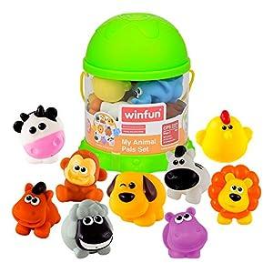 winfun - Juego 10 animalitos terrestres de goma para el baño (44742)